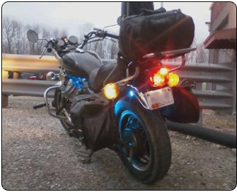 Motorcycle Tail/Brake & License Plate in Use